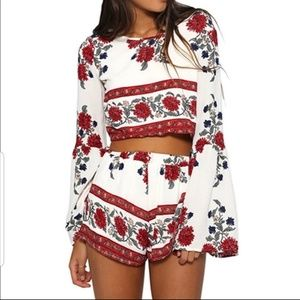 NEW Two Piece Short Set Bell Sleeve At Elbow